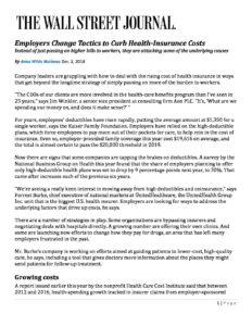 WSJ - Employers Change Tactics to Curb Health_ Dec 3 2018 - WellNet